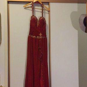 Rust formal dress with detachable neckline